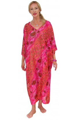 BEACH KAFTAN COVER-UP CERISE