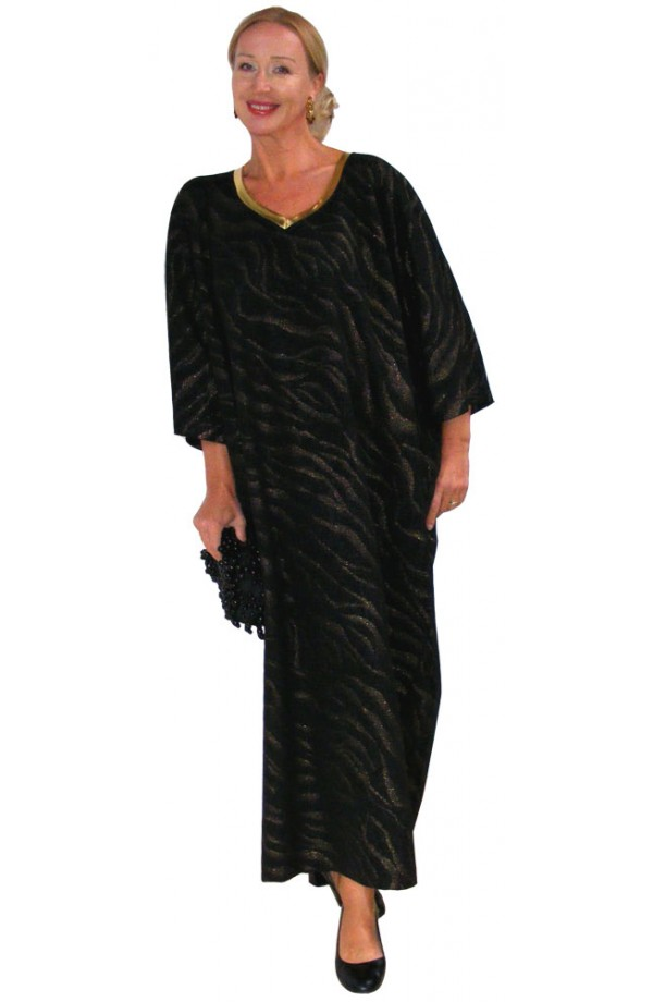 BLACK AND GOLD EVENING KAFTAN