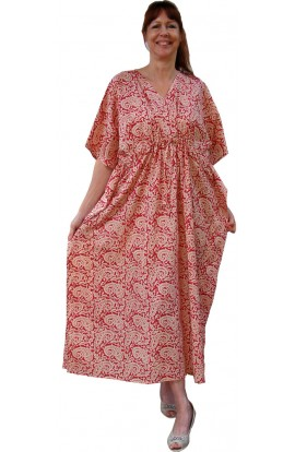 COTTON KAFTAN - PAISLEY RED & ECRU