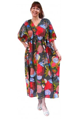 COTTON KAFTAN - Bold design on Charcoal-black