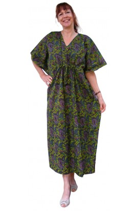 COTTON KAFTAN - GREEN & PURPLE PAISLEY