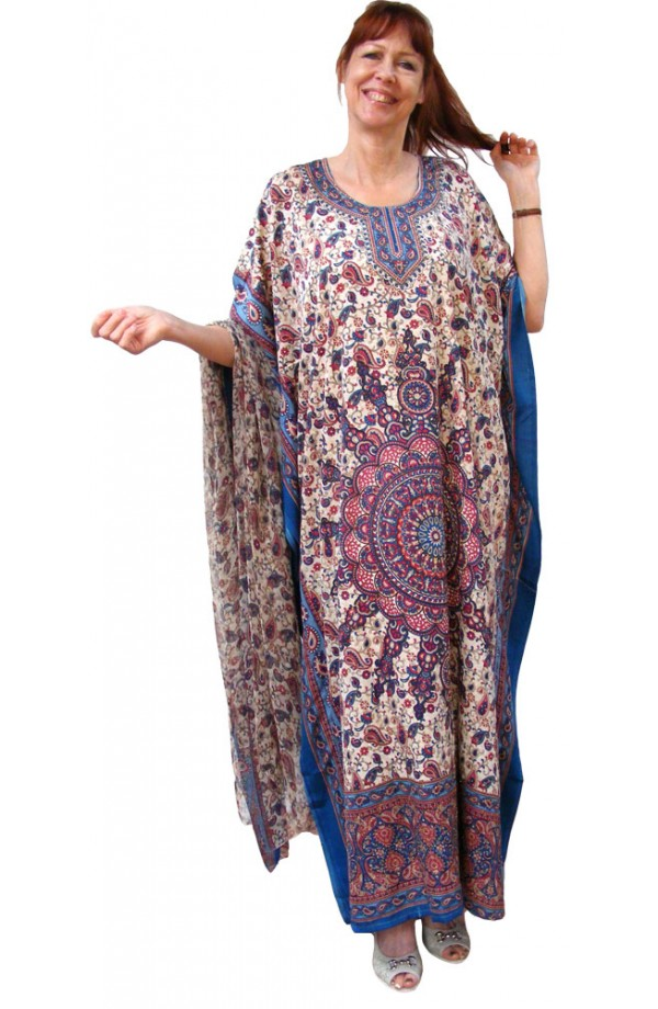 KAFTAN AND MATCHING SCARF - TURQUOISE BLUE  DESIGN