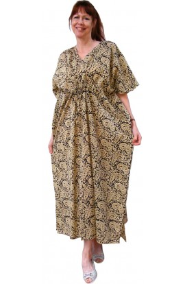 COTTON KAFTAN - PAISLEY BLACK AND OLIVE - ONE ONLY