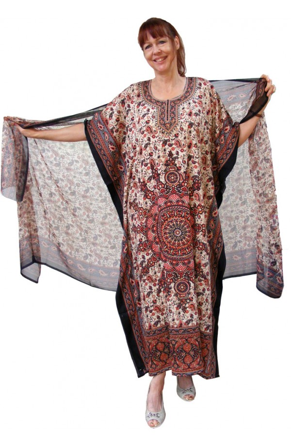 KAFTAN AND MATCHING SCARF - WINE,BLUE GREY DESIGN
