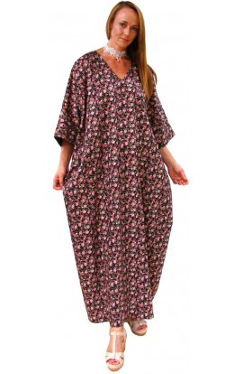 COTTON KAFTAN BLACK ROSE