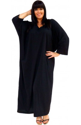 JERSEY COTTON KAFTAN BLACK