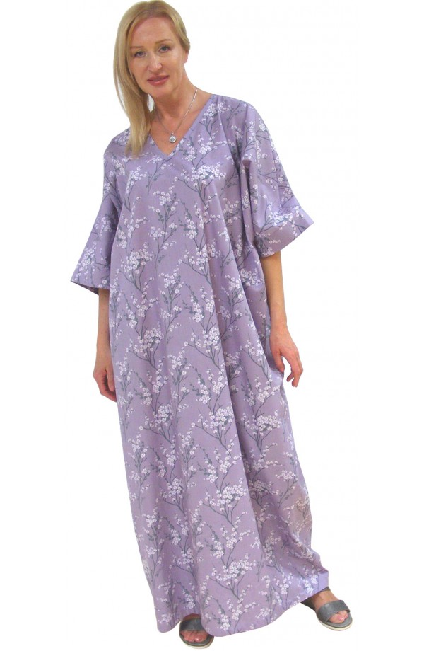 COTTON KAFTAN  - Blosom design on lilac