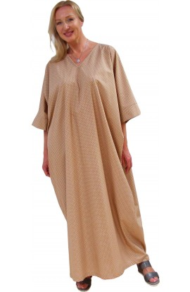 COTTON KAFTAN - POLKA-DOT DESIGN - Butterscotch