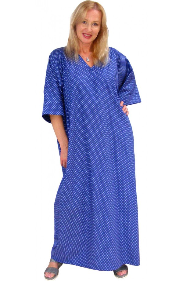 COTTON KAFTAN - POLKA-DOT DESIGN - Copen-blue