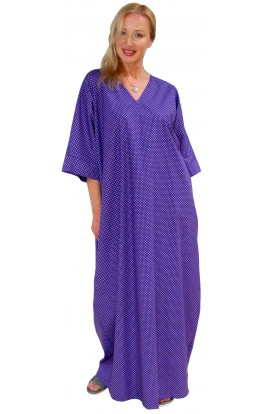 COTTON KAFTAN - POLKA-DOT DESIGN - Purple
