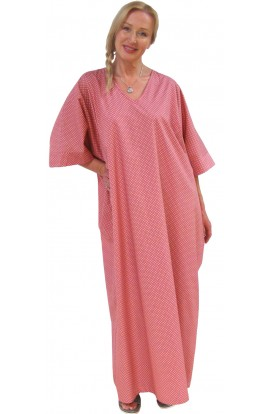 COTTON KAFTAN - POLKA-DOT DESIGN - Warm-rose