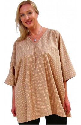 COTTON TOP - SHORT KAFTAN POLKA-DOT-BUTTERSCOTCH