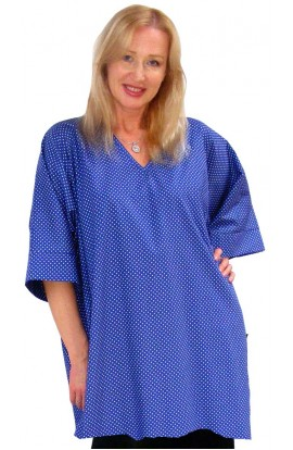 COTTON TOP - SHORT KAFTAN POLKA-DOT BLUE