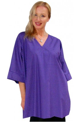 COTTON TOP - SHORT KAFTAN POLKA-DOT-PURPLE