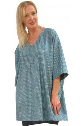 COTTON TOP - SHORT KAFTAN POLKA-DOT-ICE-GREEN