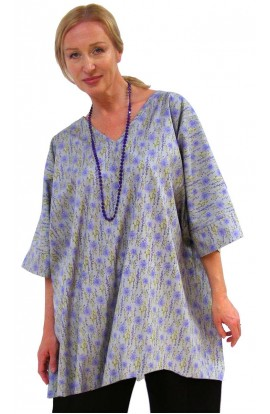 COTTON TOP - SHORT KAFTAN - GREY FLORAL