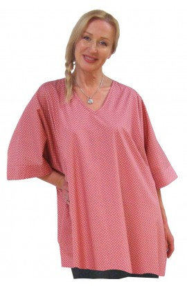 COTTON TOP - SHORT KAFTAN POLKA-DOT-ROSE
