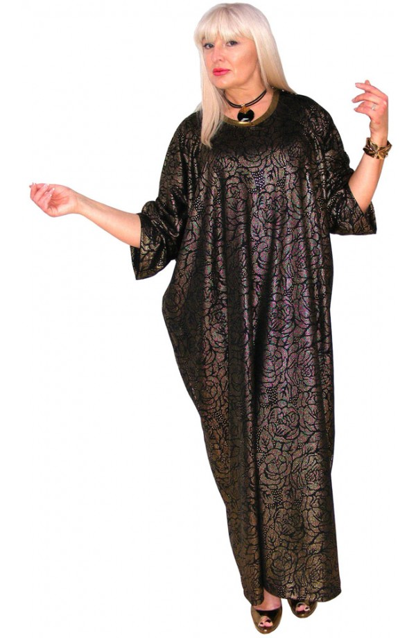 EVENINGS-SPECIAL OCCASIONS KAFTAN - BLACK WITH GOLD ROSE OVERLAY