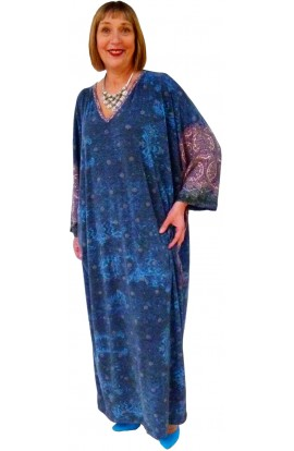 BLUE AND LILAC KNITTED JERSEY KAFTAN - LENGTH 49""