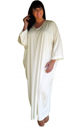 JERSEY COTTON KAFTAN - CREAM