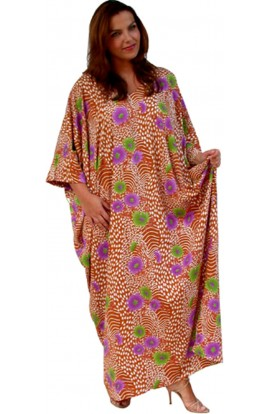 KAFTAN IN SOFT FRENCH CREPE -  BUTTERSCOTCH