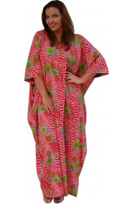 POLY KAFTAN-BOMBAY RED