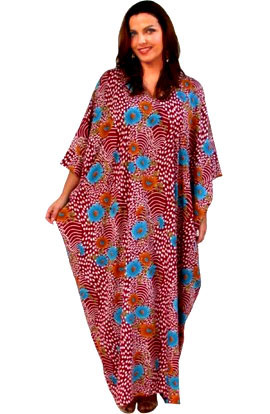KAFTAN IN SOFT FRENCH CREPE - BURGANDY