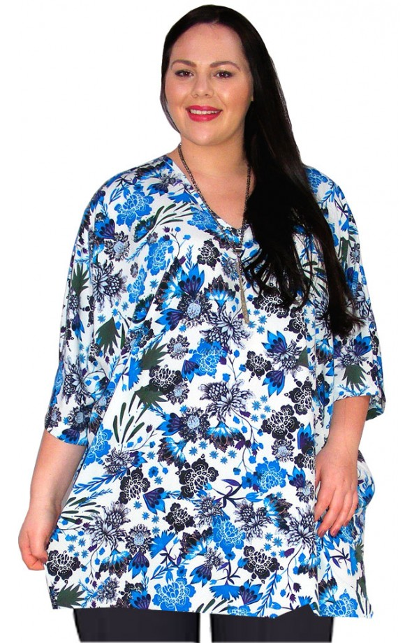 KAFTAN TOP IN KOSHIBO POLYESTER - BLUE & WHITE
