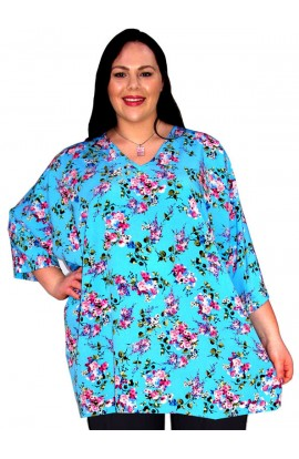 1. KAFTAN TOP IN KOSHIBO POLYESTER - BLUE-FLORAL