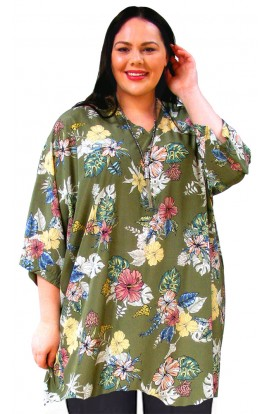 KAFTAN TOP IN SMOOTH POLYESTER - SAGE-GREEN FLORAL