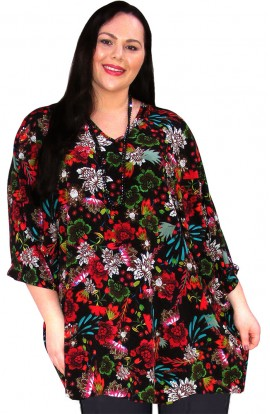 KAFTAN TOP IN KOSHIBO POLYESTER - BLACK-MULTI