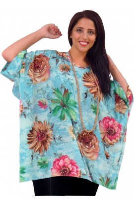 KAFTAN TOP IN SOFT POLYESTER - BLUE FLORAL