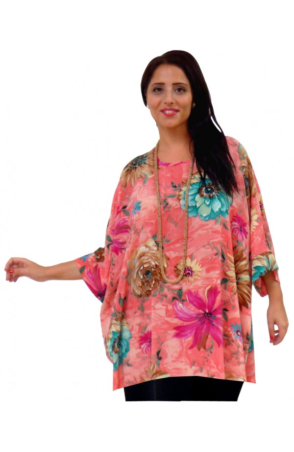 KAFTAN TOP IN SOFT POLYESTER - CORAL