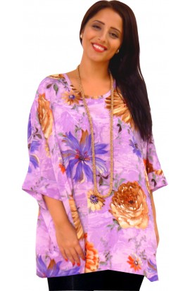 KAFTAN TOP IN SOFT POLYESTER - LILAC