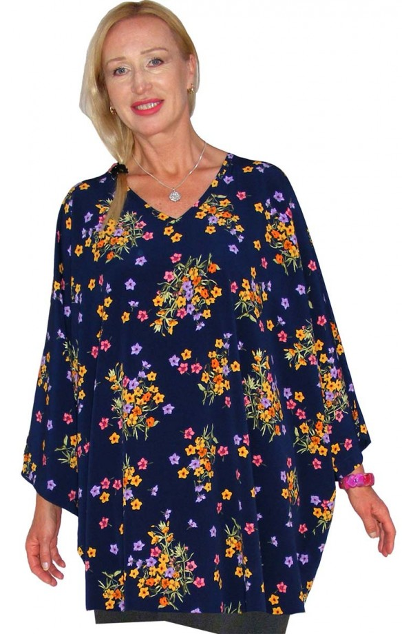 TOP - SHORT KAFTAN - NAVY FLORAL