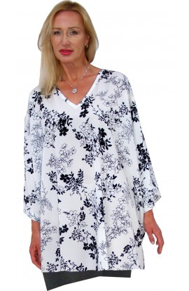 TOP - SHORT KAFTAN - WHITE & BLACK