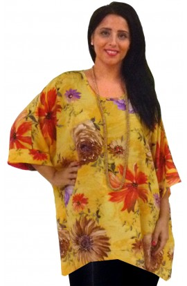 KAFTAN TOP IN SOFT POLYESTER - PRIMROSE