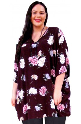PLUS-SIZE TOP IN COOL VISCOSE - AUBERGINE-CHRYSANTHEMUM