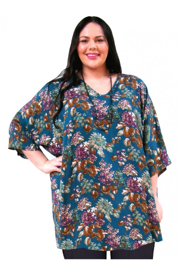 PLUS-SIZE TOP IN VISCOSE TWILL - BLUE-PURPLE