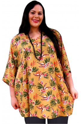 PLUS-SIZE TOP IN COOL VISCOSE - OCHRA ORIENTAL