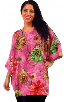 KAFTAN TOP IN SOFT POLYESTER - PINK