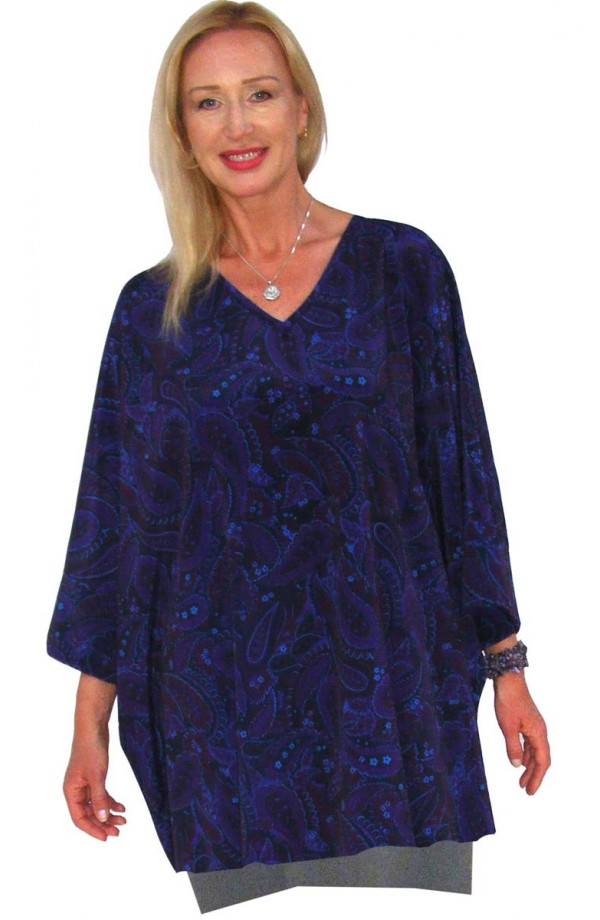TOP - SHORT KAFTAN - PURPLE PAISLEY