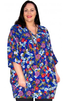 KAFTAN TOP IN KOSHIBO POLYESTER - ROYAL-BLUE