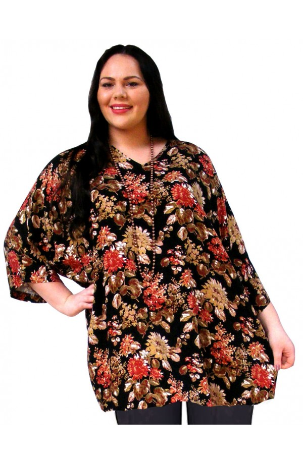 PLUS-SIZE TOP IN VISCOSE TWILL - BLACK-GOLD-RED