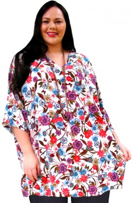 KAFTAN TOP IN KOSHIBO POLYESTER - WHITE-MULTI