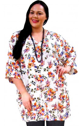 1. KAFTAN TOP IN KOSHIBO POLYESTER - WHITE FLORAL