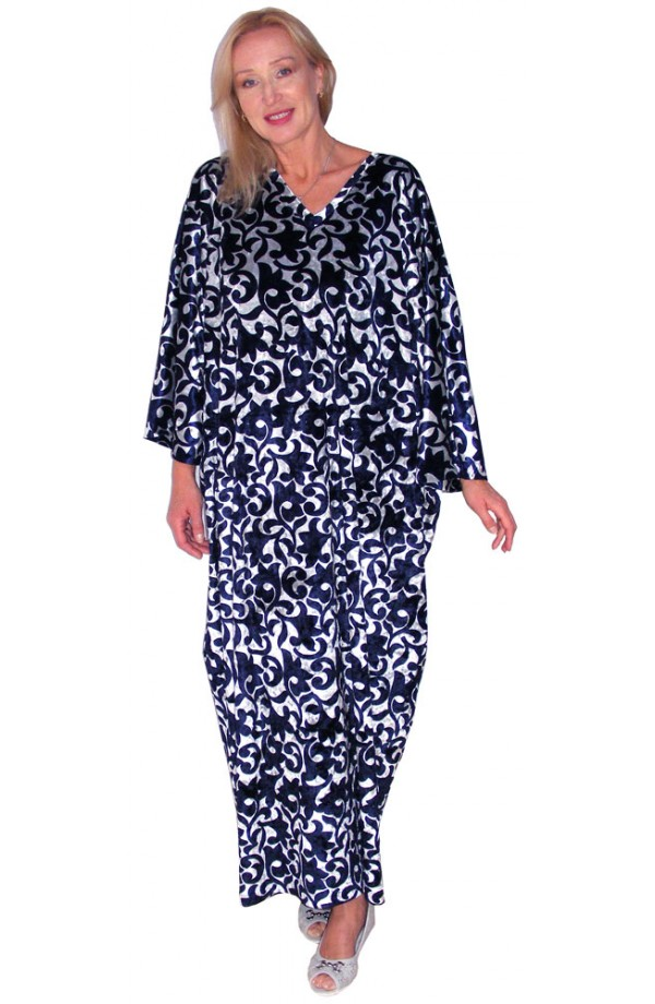 PRINTED VELOUR KAFTAN – NAVY AND SILVER
