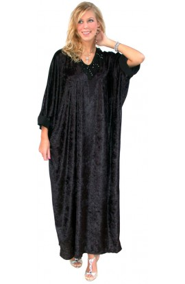 FRINGED NECK KAFTAN - BLACK