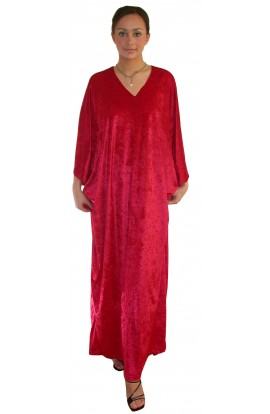 Knitted Velour Kaftan - Red