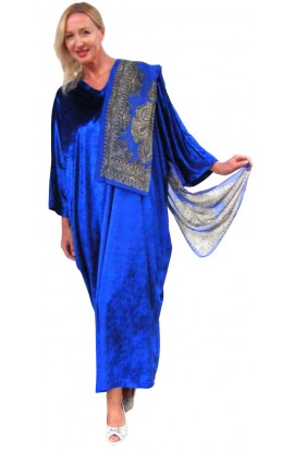 Knitted Velour Kaftan - Royal-Blue with FREE SCARF